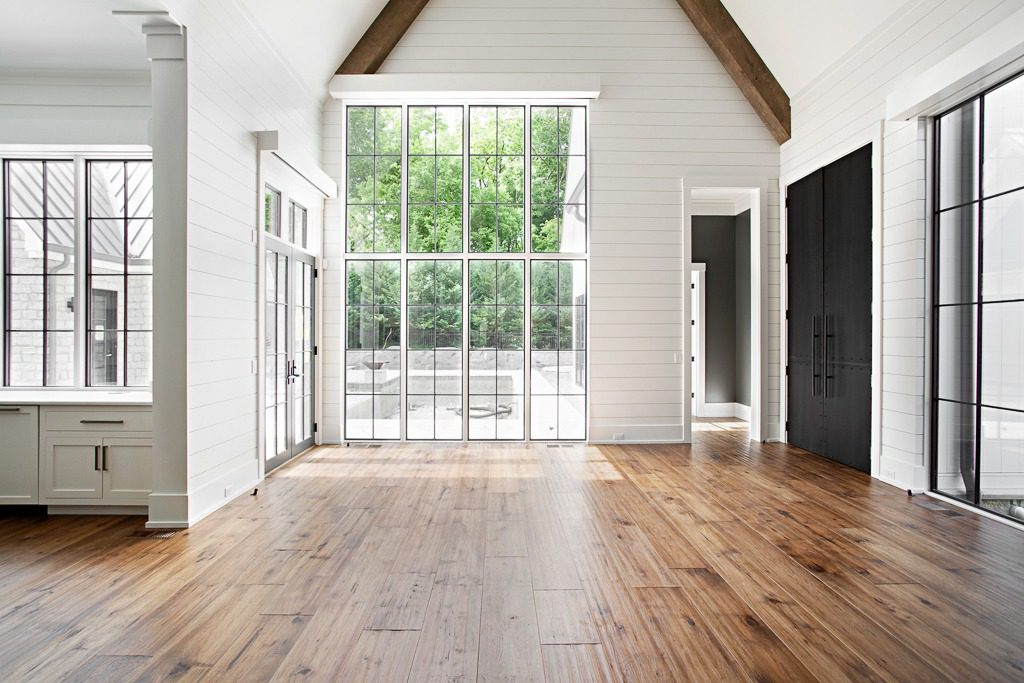 """Extra wide 11"""" hand hewn Northern Appalachian hickory plank flooring by Textures Nashville"""