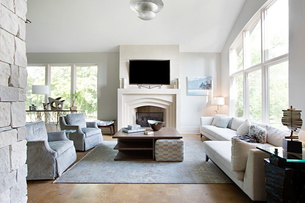 Modern living room features end grain plank flooring by Kaswell Flooring Systems