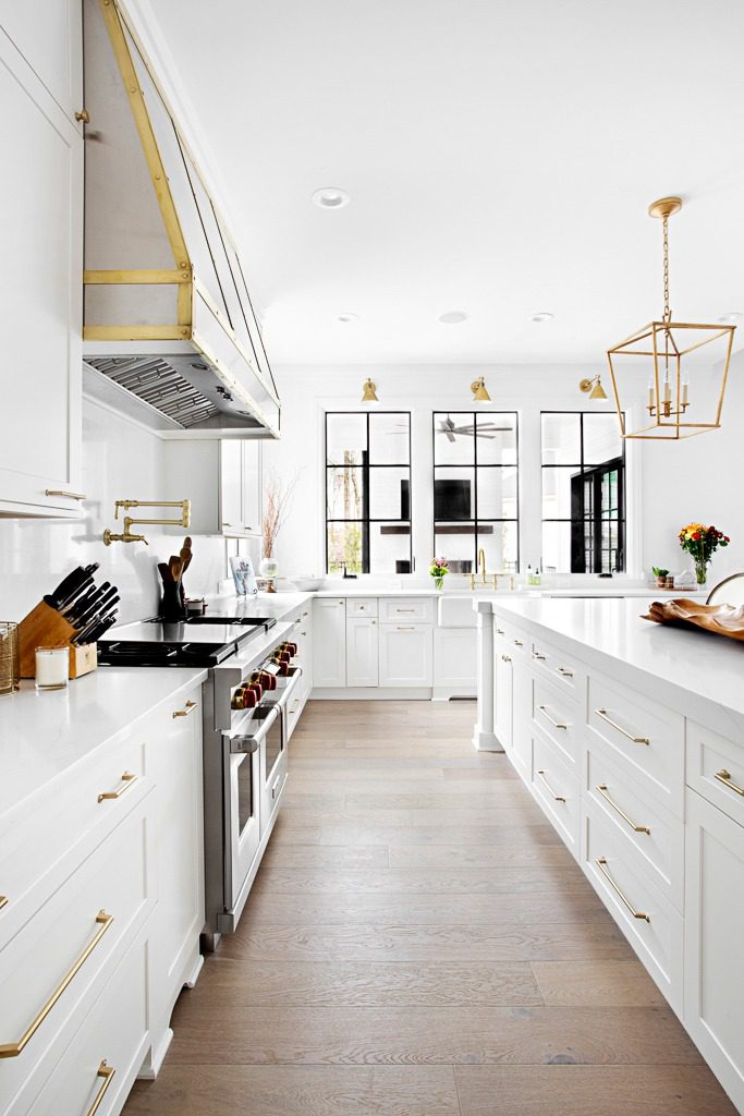 """Transitional bohemian kitchen featuring 7"""" wide plank custom hardwoods by Textures Nashville"""
