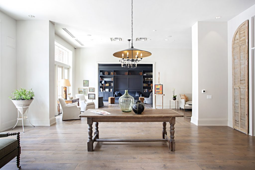 Entrance to Harpeth Square featuring wide plank matte finish hardwood floors by Textures Nashville